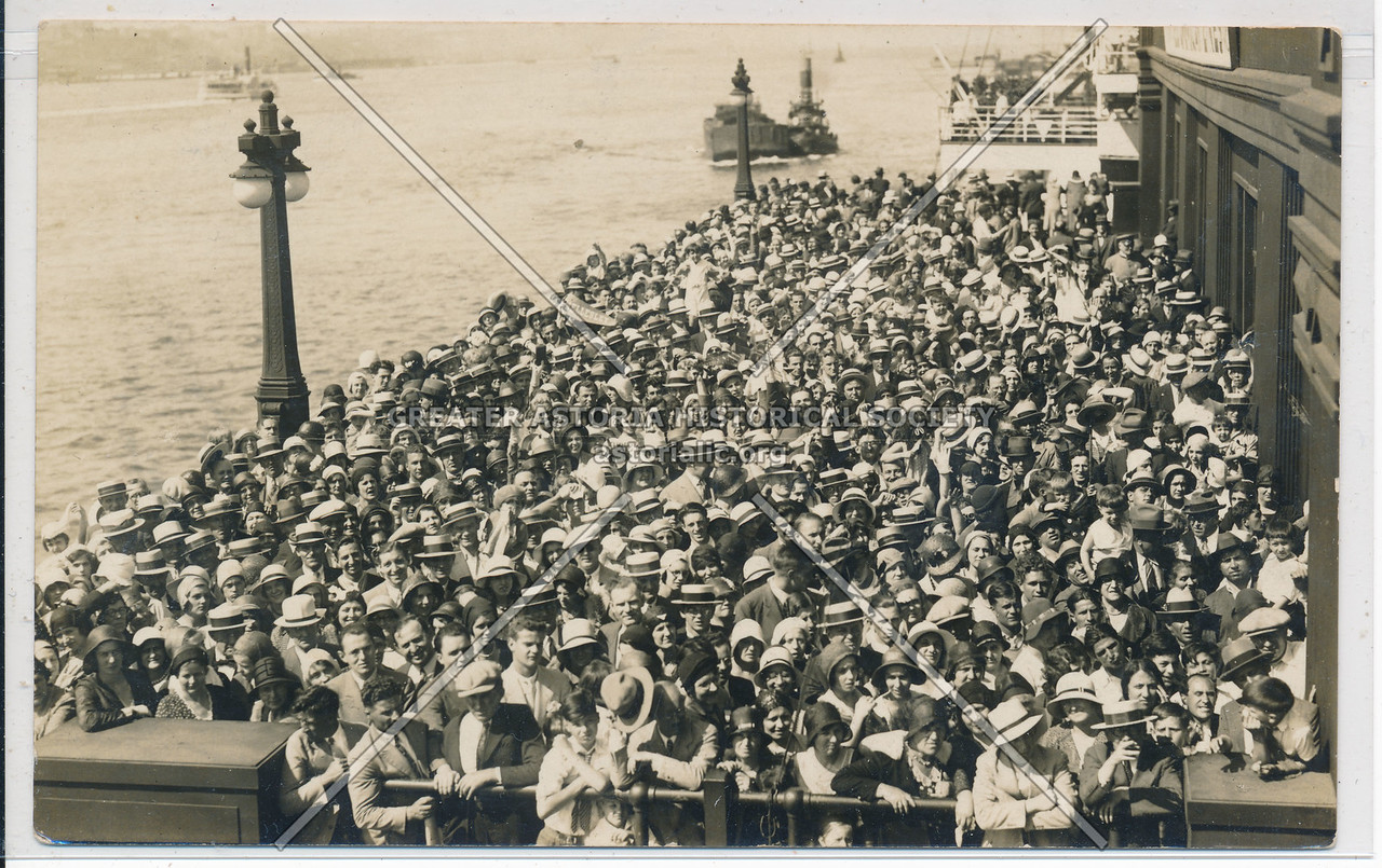 Crowd on Hudson River Pier