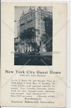 NYC Guest House, Ida Mae Nelson, 410 Riverside & 113 St, NYC