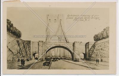 Architect's drawing of proposed Hudson River Bridge, Fort Lee, N.J.