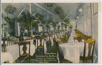 Dining Room. Arrowhead Inn. Ben Riley, Formerly of Saratoga. 177th st. & Fort Washington Ave. N.Y.C.