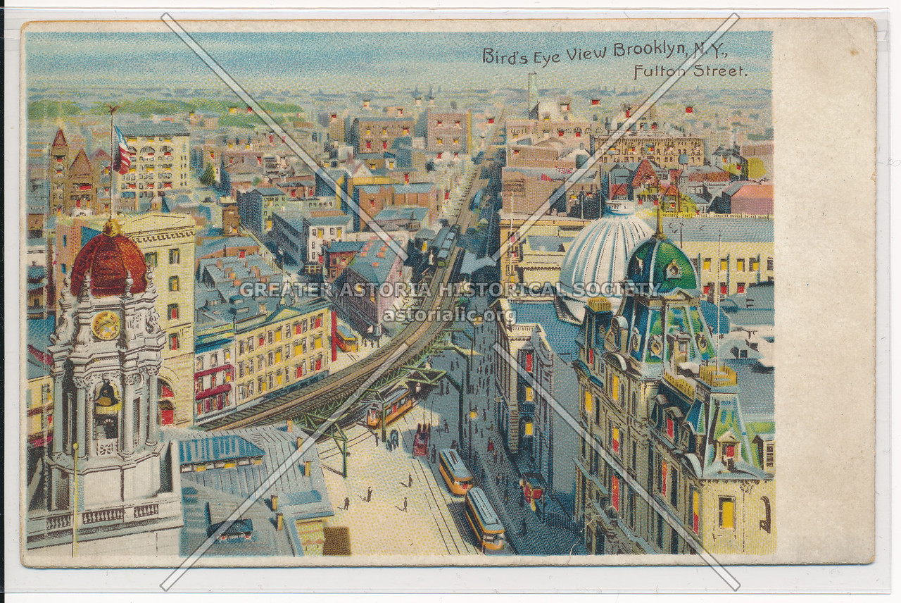 Bird's Eye View Brooklyn, Fulton Street, NYC.