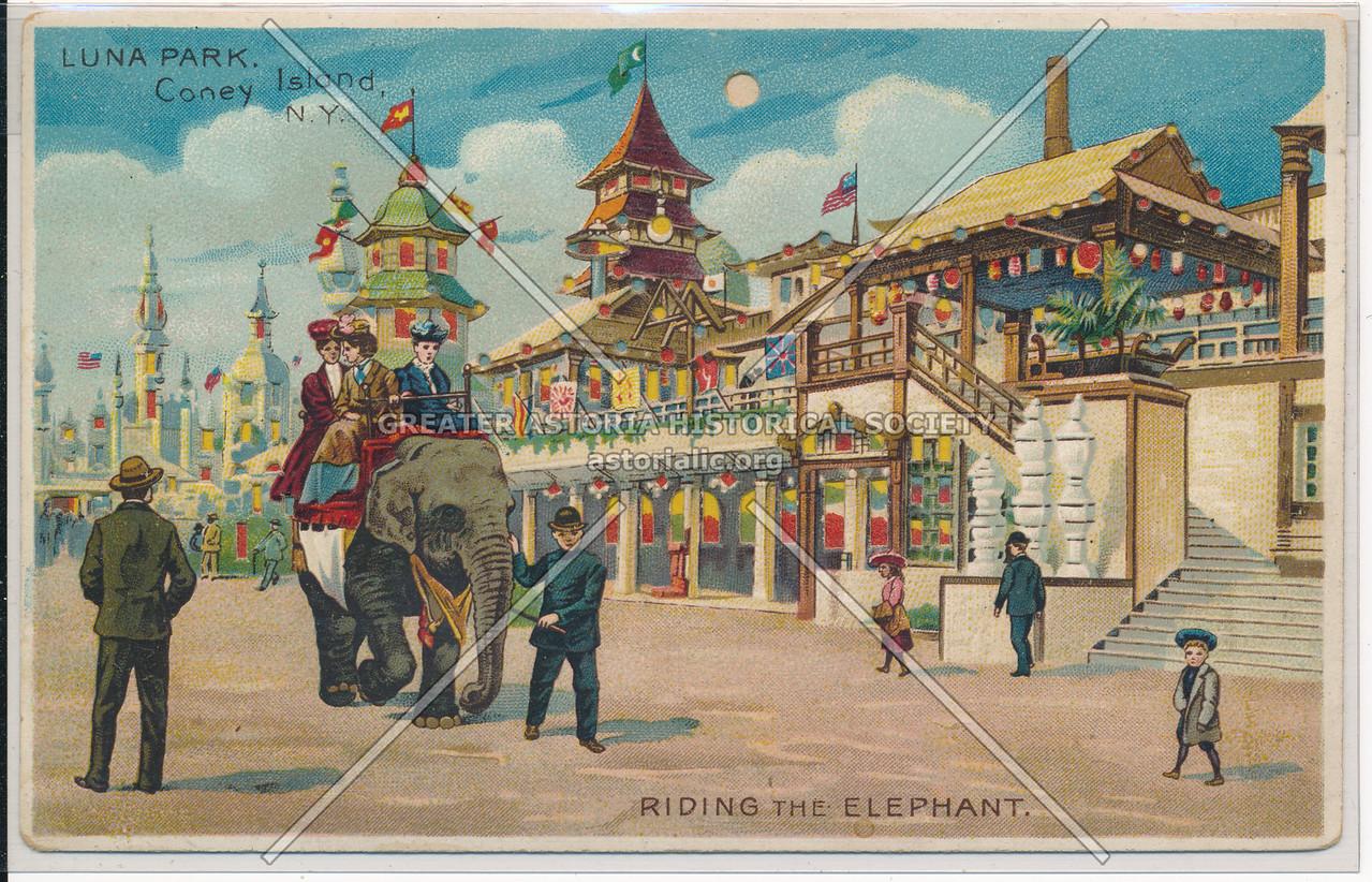 Luna Park, Coney Islamd, Riding The Elephant, Bklyn.