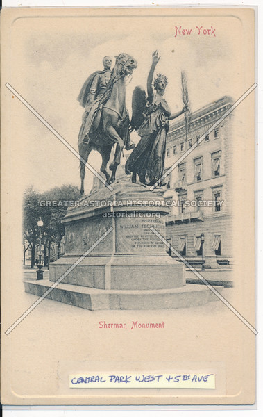 Sherman Monument, New York. Central Park West and 5th Ave., NYC