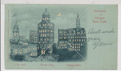 Souvenir of Greater New-York, City Hall. World Bldg. Tribune Bldg.