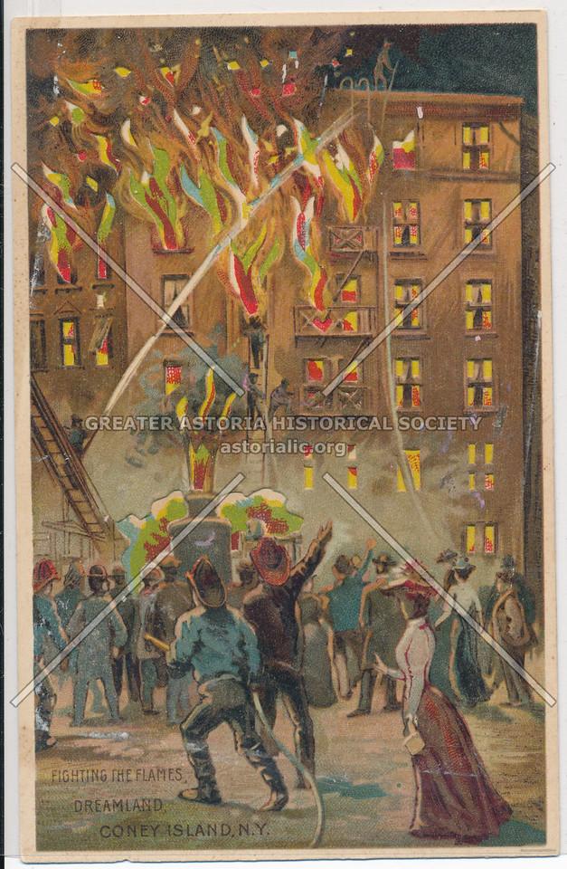Fighting The Flames, Dreamland, Coney Island,  Bklyn