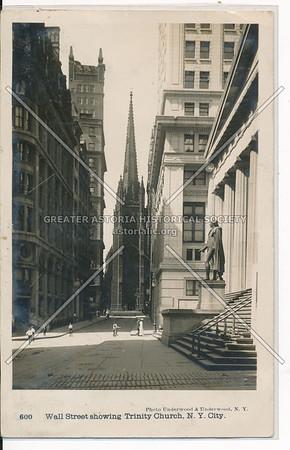 Wall Street showing Trinity Church, NYC