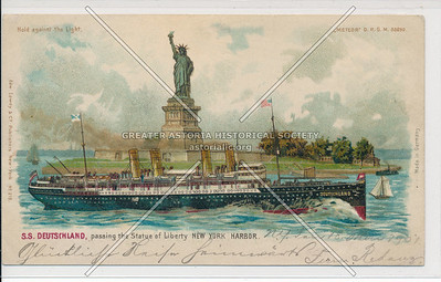 S.S. Deutschland passing the Statue of Liberty at the New York City Harbor
