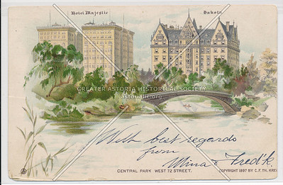 Central Park (West 72nd Street), Hotel Majestic, and The Dakota, NYC