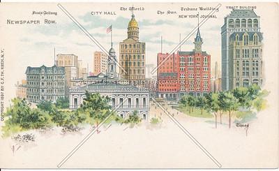 City Hall and Newspaper Row, NYC