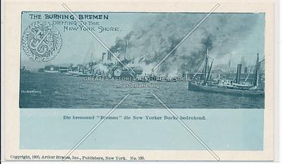 "Burning Steamship ""Bremen"" at the New York City harbor."