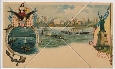 Brooklyn Bridge, Statue of Liberty, and New York City Skyline