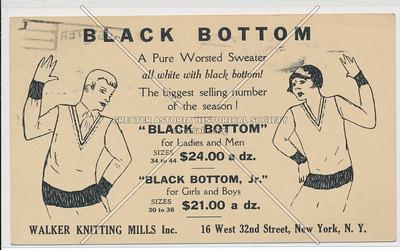 """Black Bottom"" by Walker Knitting Mills, 16 W 32 St, NYC"