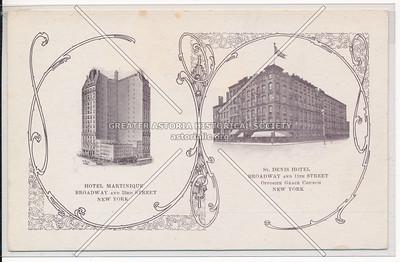 St Denis Hotel, B'way & 11 St, NYC / Hotel Martinque, B'way & 33 St, NYC