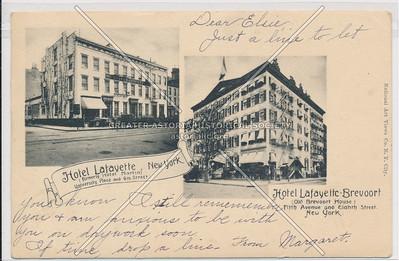 Hotel Brevoort, 5 Av & 8 St, NYC / Café Lafayette, Univesity Pl & 9 St, NYC