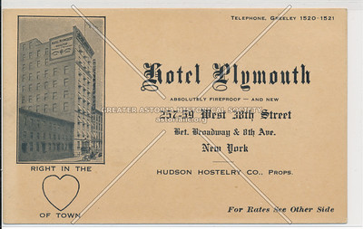 Hotel Plymouth, 257-59 W 38th St., btw. B'way & 8th Ave., New York