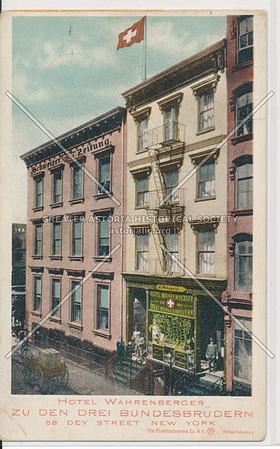 Hotel Wahrenberger. Zu Den Drei Bundesbrudern, 58 Dey St., NYC