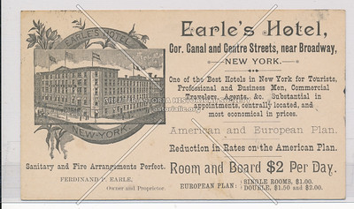 Earle's Hotel Cor. Canal & Centre Streets, Near B'way