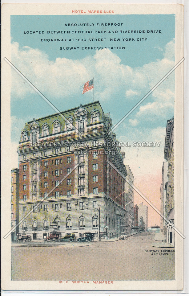 Hotel Marseilles, Located Between Central Park And Riverside Drive, Broadway At 103d Street, New York City