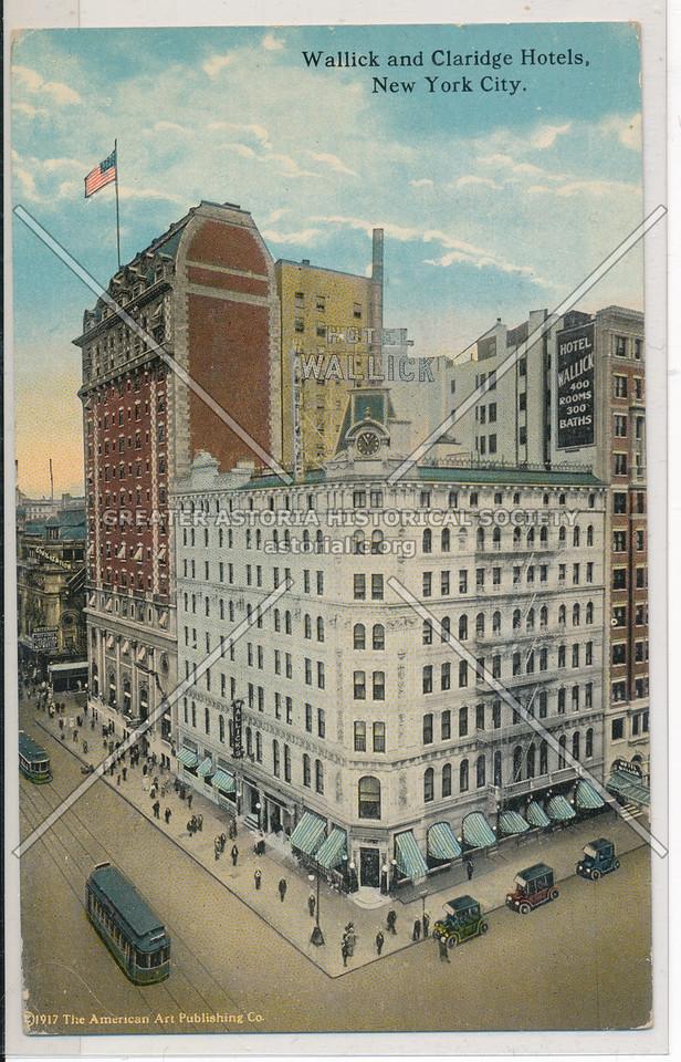 Wallick and Claridge Hotels, New York City