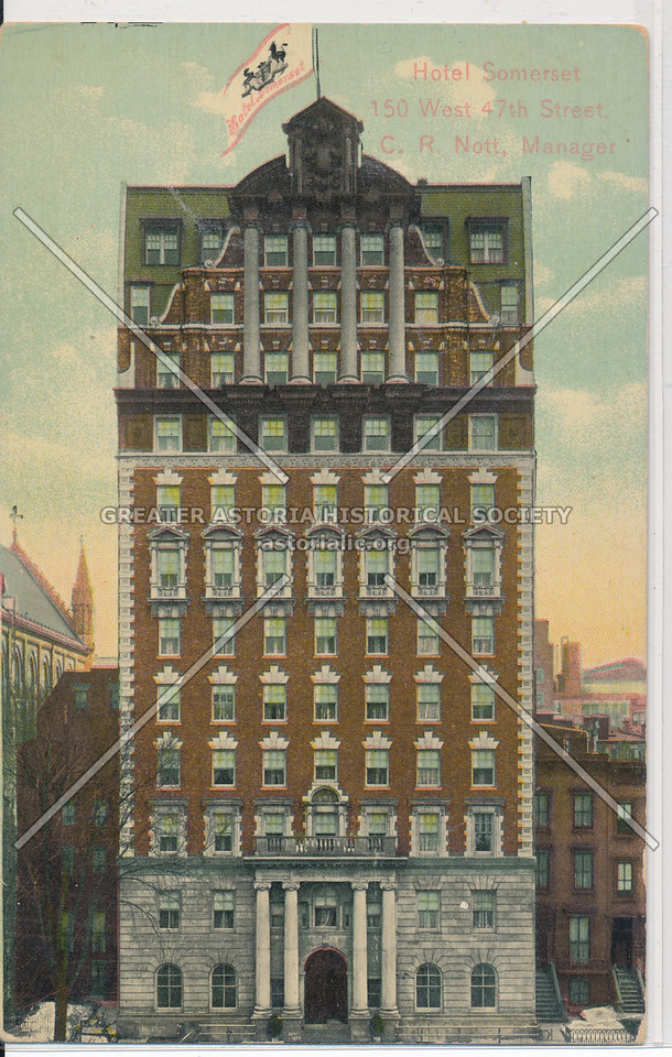 Hotel Somerset, 150 W 47th St, C.R. Nott, Manager