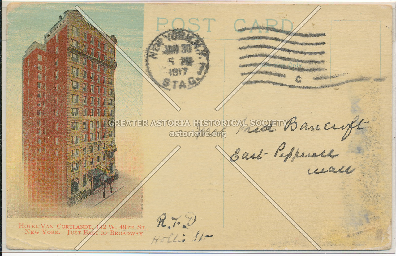 Hotel Van Cortlandt, 112 W 49th St., New York, Just East of Broadway