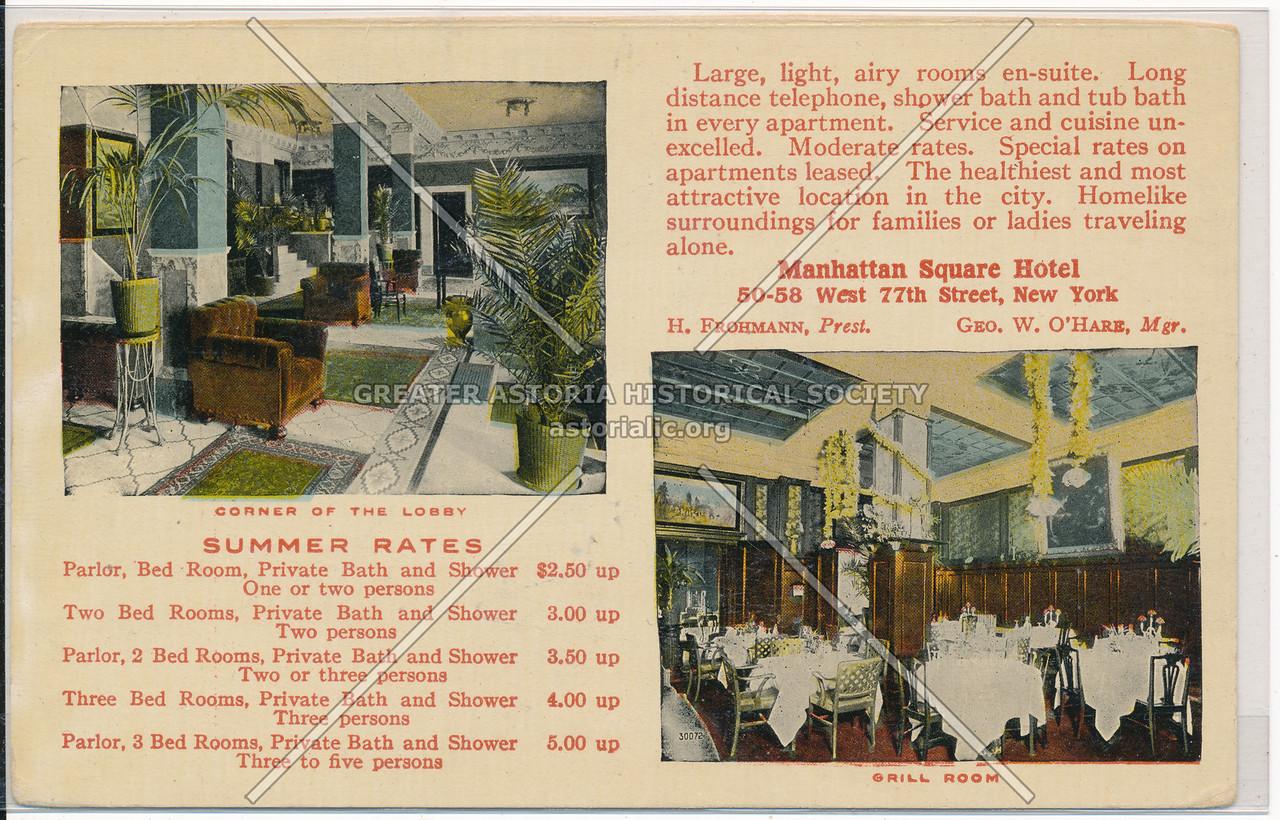 Manhattan Square Hotel, 50-58 West 77th Street, New York