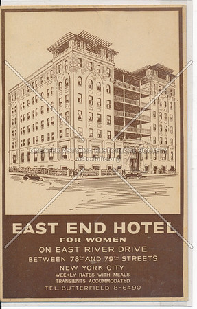 East End Hotel For Women On East River Drive Between 78th And 79th Streets, New York City