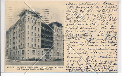 Junior League Residential Hotel for Women, 78th Street and East River, New York City