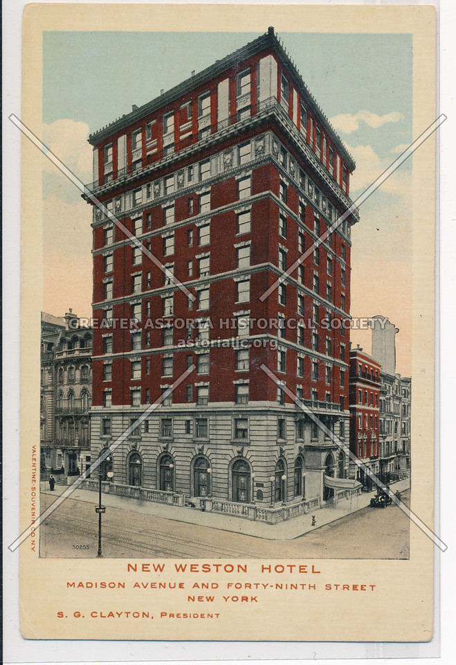 New Weston Hotel, MAdison Avenue And Forty-Ninth Street, New York