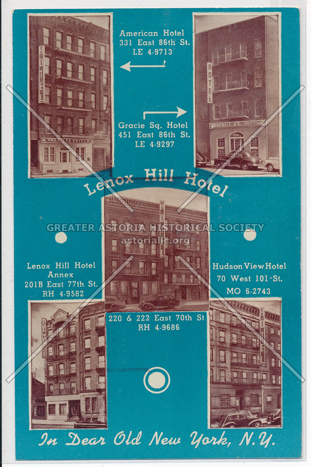 Lenox Hill Hotel, 220 & 222 East 70th St., In Dear Old New York, N.Y.
