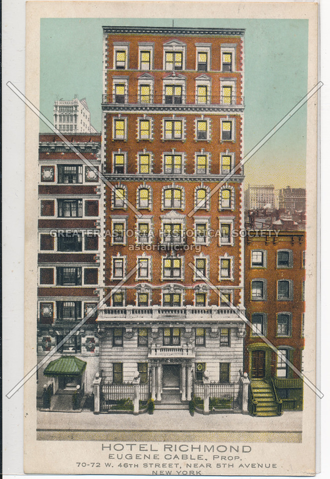 Hotel Richmond Eugene Cable, Prop. 70-72 W 46th Street, near 5th Avenue, New York City