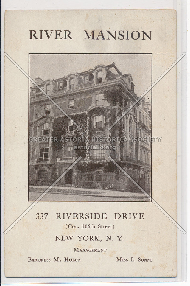 River Mansion, 337 Riverside Drive (Cor. 106th Street), New York, N.Y.