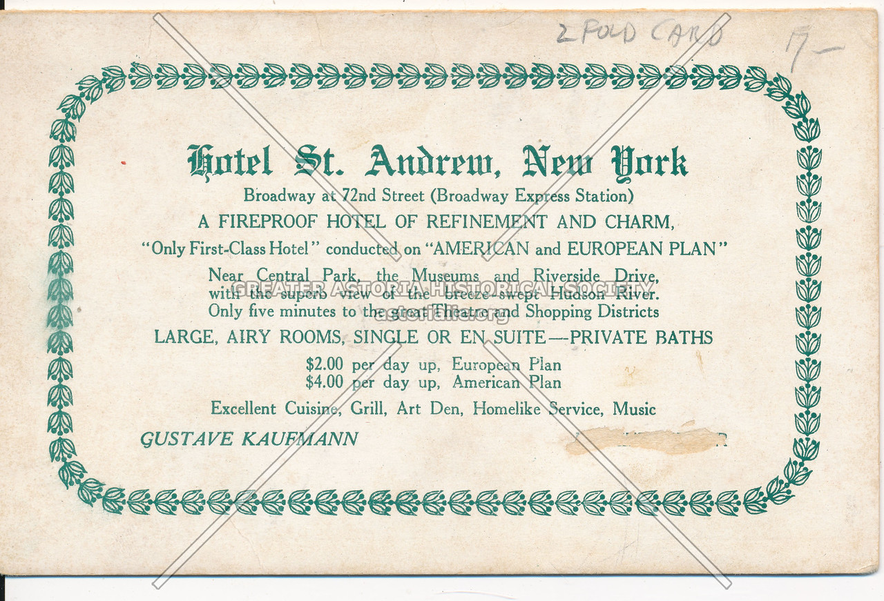 Hotel St. Andrew, New York, Broadway at 72nd Street (Broadway Express Station)