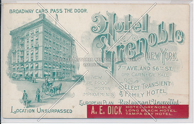 Hotel Grenoble, 7th Ave. and 56th St. Opp Carnegie Hall, New York