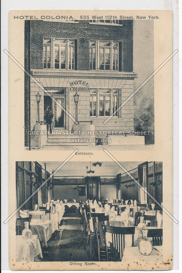 Hotel Colonia, 5353 West 112th Street, New York, Entrance and Dining Room