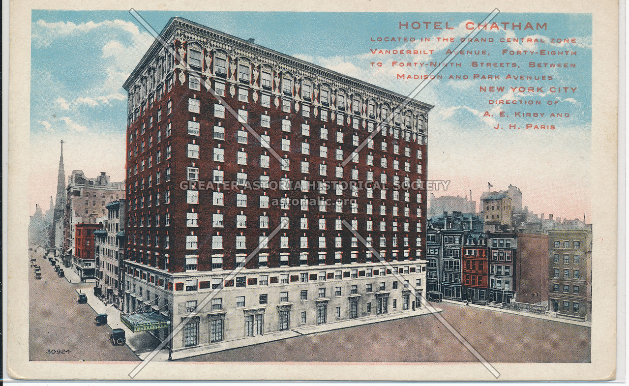 Hotel Chatham Located in the Grand Central Zone, Vanderbilt Ave, 48th-49th Sts, Between Madison and Park Aves., NYC
