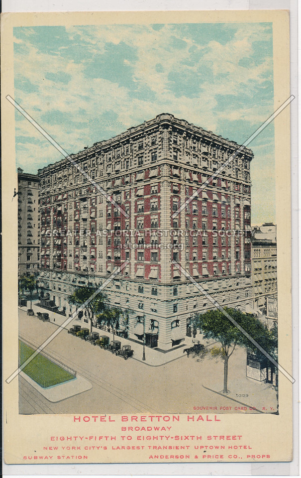 Hotel Bretton Hall, Broadway, Eighty-Fifth to Eighty-Sixth Street