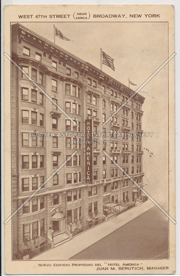 """Hotel America, West 47 Street (near cerca) Broadway, New York. Nuevo Edificio Propiedad Del """"Hotel America"""""""