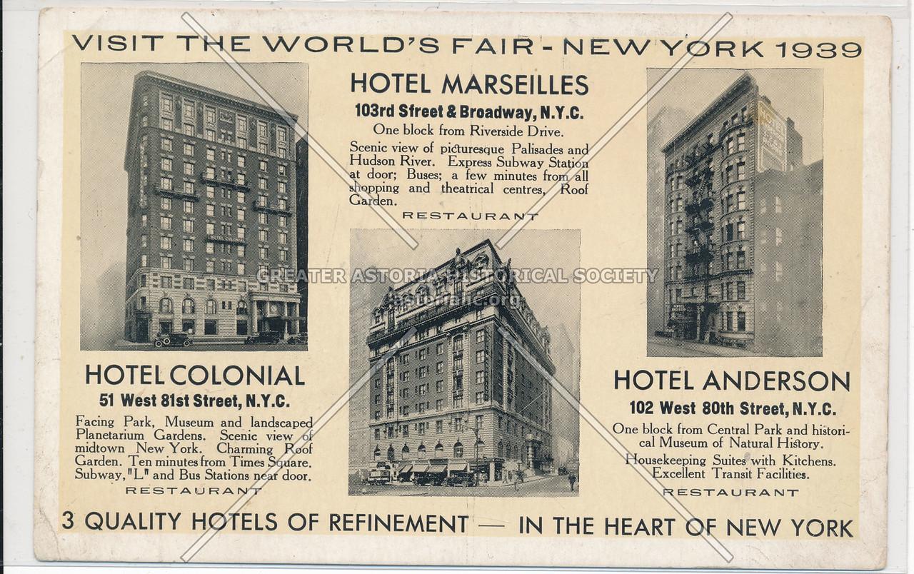 Hotel Marseilles, 103rd Street & Broadway, N.Y.C.
