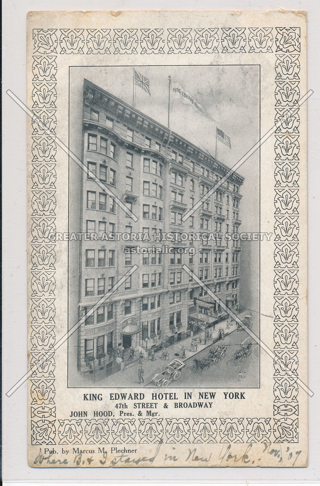 King Edward Hotel In New York, 47th St & Broadway, NYC