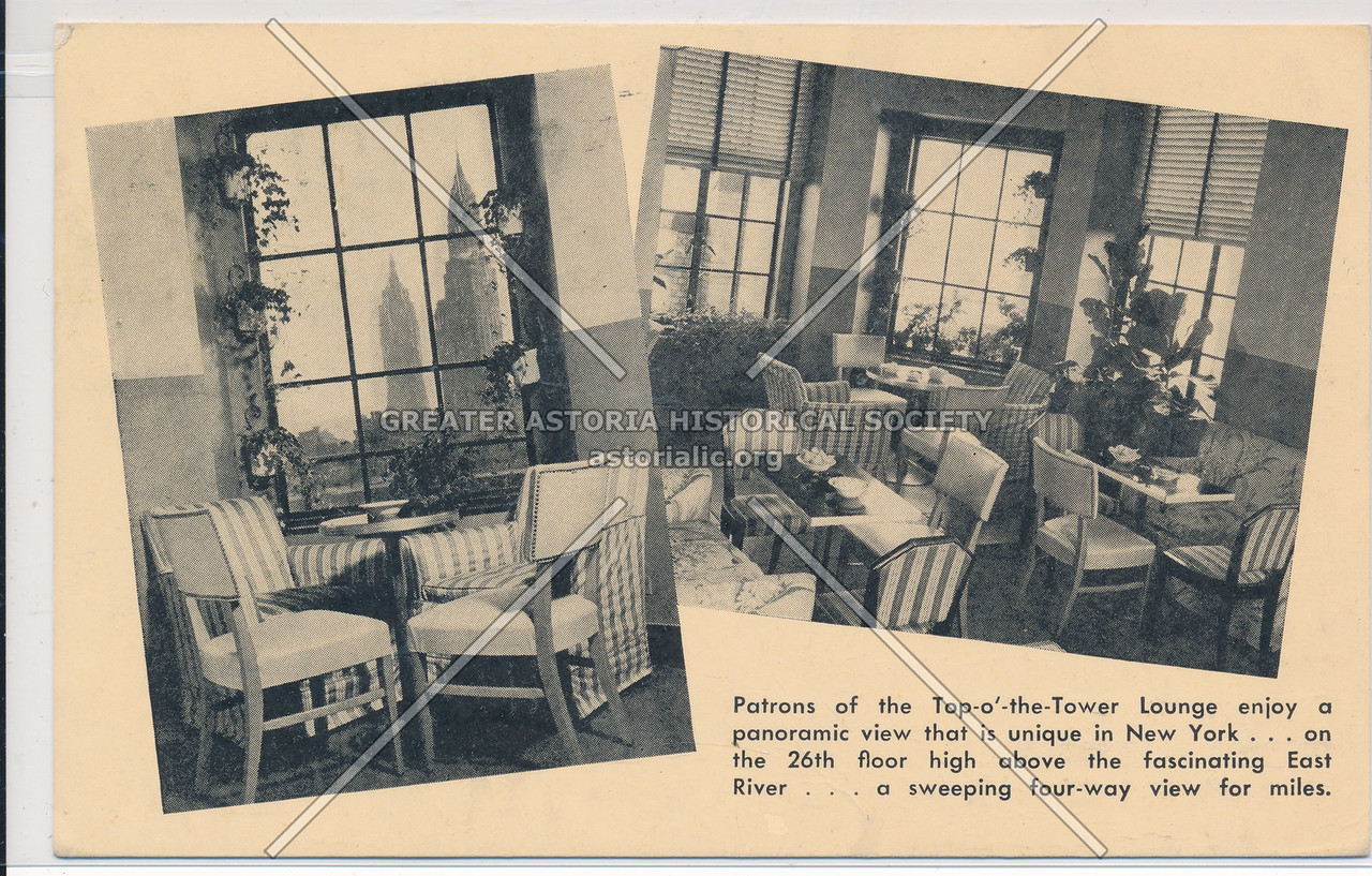 Patrons of the Top-o'-the-Tower Lounge enjoy a panoramic view that is unique in New York