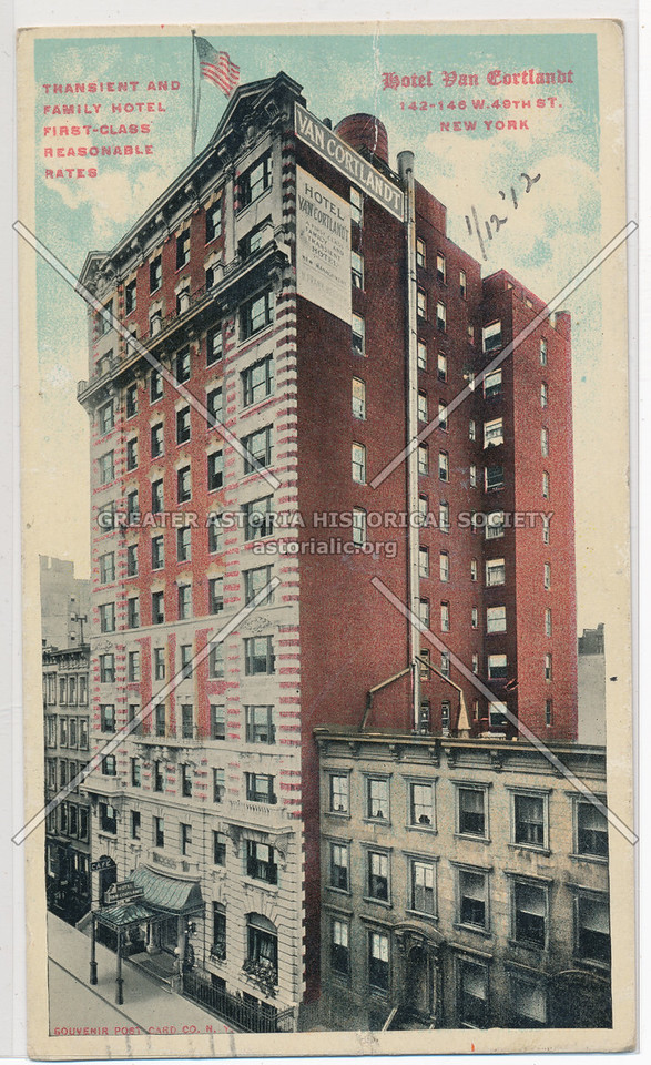 Transient And Family Hotel, First Class Reasonable Rates, Hotel Van Cortland, 142-146 W 49th St., New York