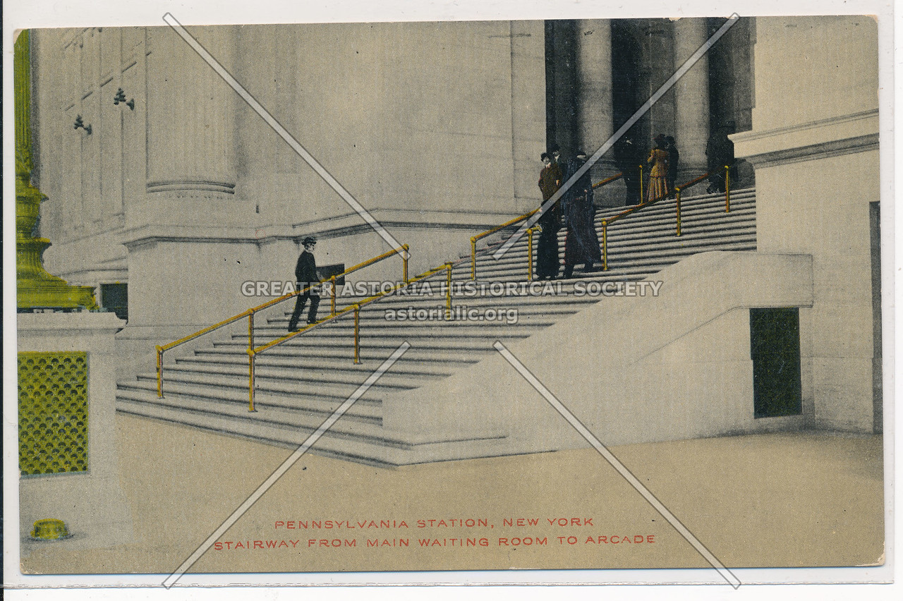 Stairway from Main Waiting Room to Arcade, Pennsylvania Station, NYC