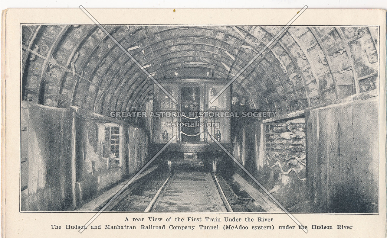 A Rear View of the First Train Under the Hudson River