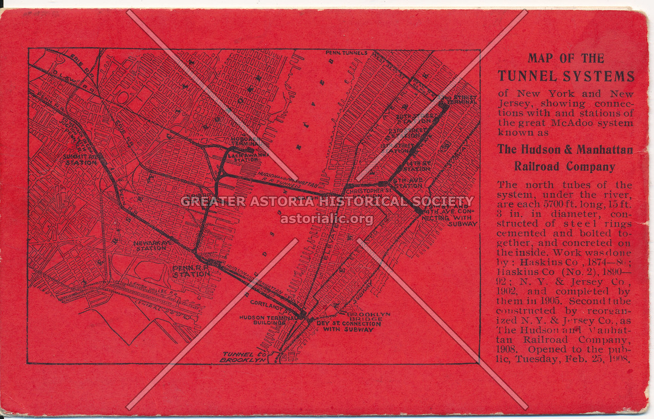 Map of the Tunnel Systems of the McAdoo system in New York City and New Jersey