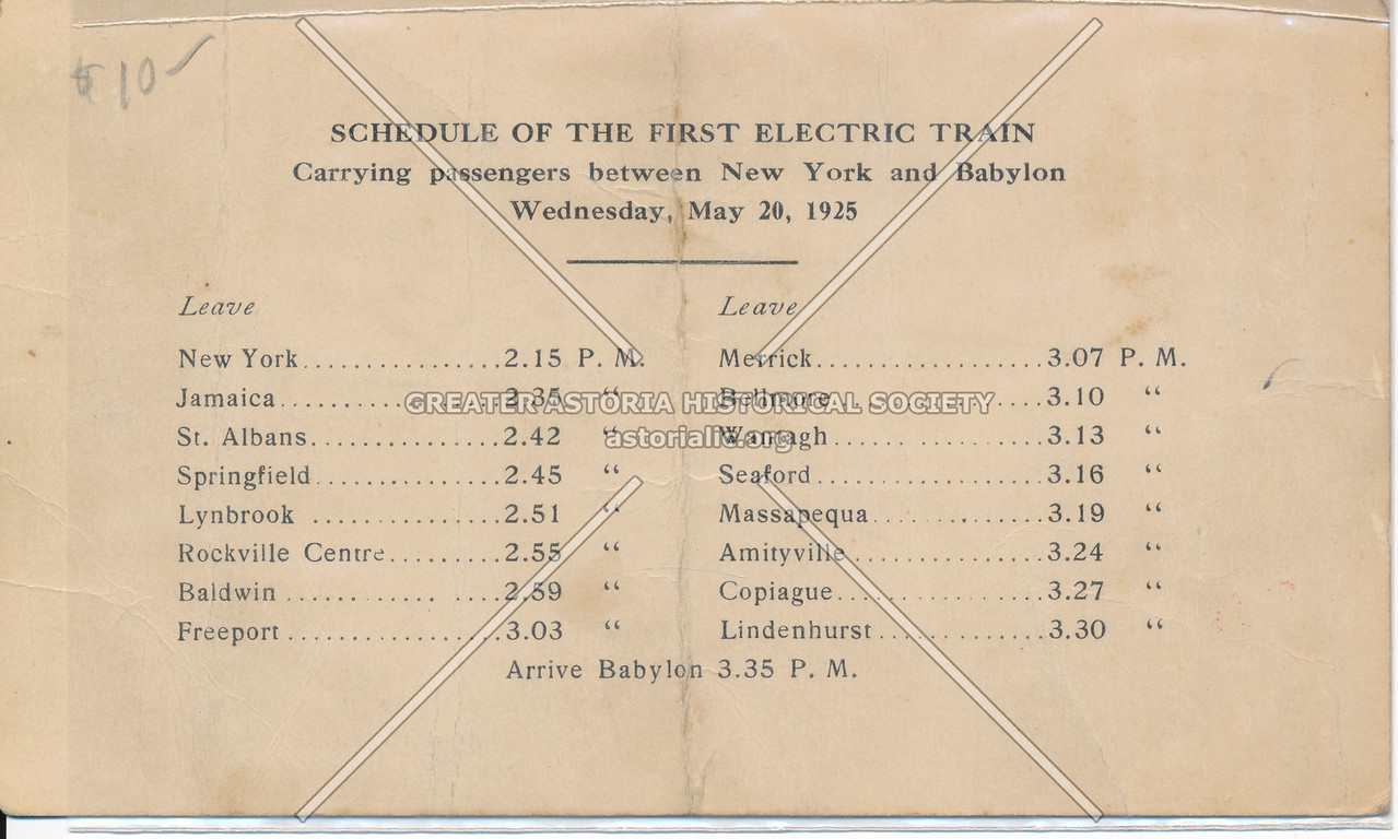 Schedule of the First Electric Train Between New York and Babylon, Long Island