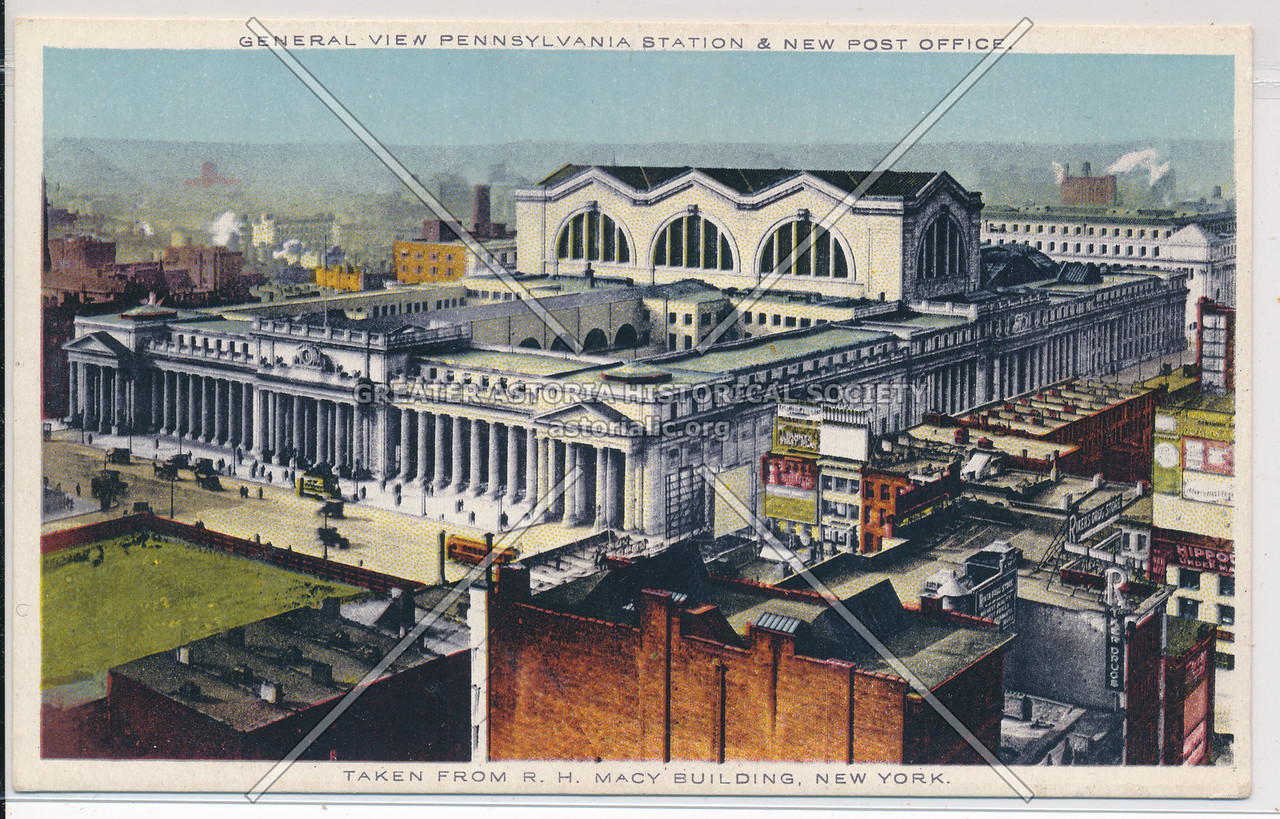 General view of Pennsylvania Station and New Post Office, NYC