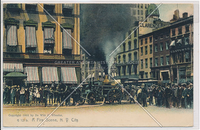 A Fire Scene in New York City, Showing Horse-Drawn Fire Engine