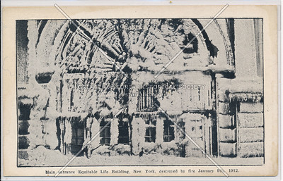 Main Entrance to Equitable Life Building Destroyed by Fire, January 9th 1912, NYC