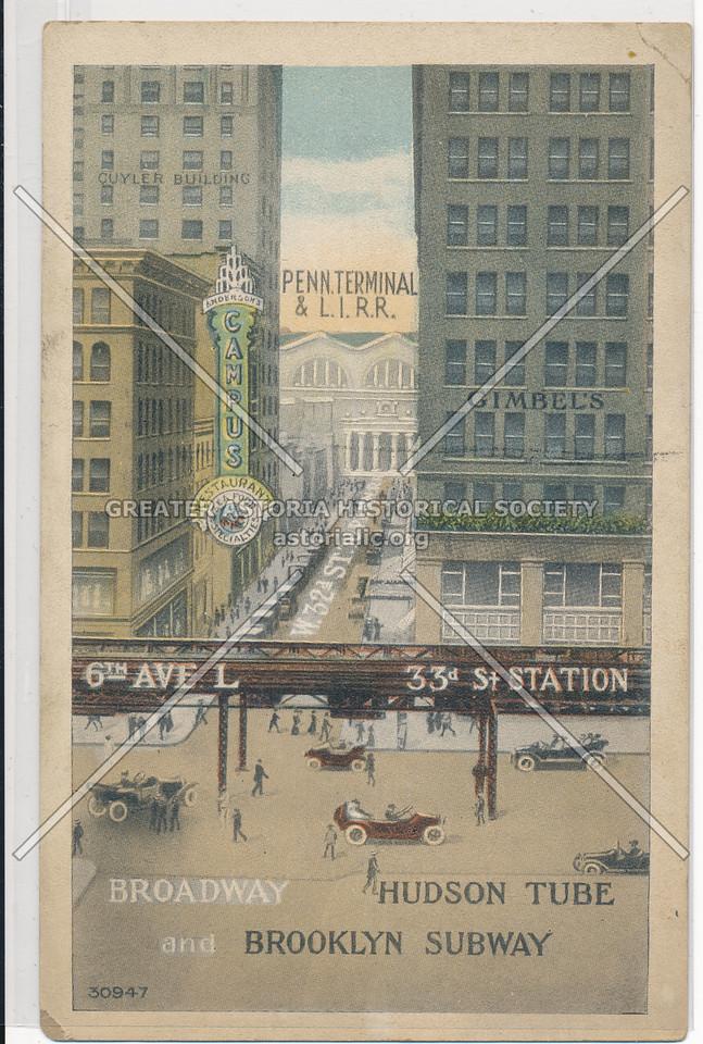 Broadway Hudson Tube and Brooklyn Subway, Alongside Penn. Terminal and L.I.R.R., NYC